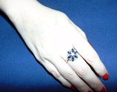 Sapphire And Diamond Flower Ring! Vintage Faux Sapphire & Diamond Silver ring! Gift For Her, Yule Gift, Christmas Present, Stocking Stuffer!