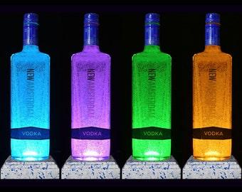 New Amsterdam Vodka Multicolour LED Bottle Lamp. Desk Lamp, LED Bottle, Upcycled Bottle, Bar Lighting, Vodka Gifts, DiamondLiquorLights