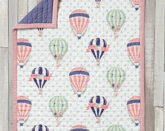 Wholecloth Quilt / Baby Blanket / Mini Quilt / Toddler Quilt / Old Fashioned Balloons Collection by Fabricology / Hot Air Balloon Nursery