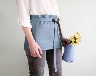 Blue short APRON - Waitress Apron - Waist Apron made of natural linen