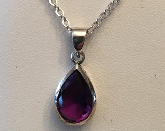 """Vintage sterling silver Pear Shaped Bezel Set Amethyst Pendant, 3.75 ct, 18"""" cable chain"""