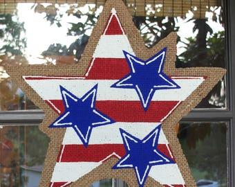Summer Star Burlap Door Hanger