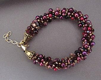 Pearl Bracelet/Purple/Gift/Adjustable Length
