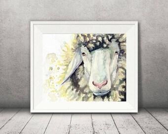 Sheep Art - Watercolor Sheep Print -  Farmhouse Decor - Farm Animal Decor - Animal Wall Decor - Animal Art - Vegan Art - Vegan Home Decor