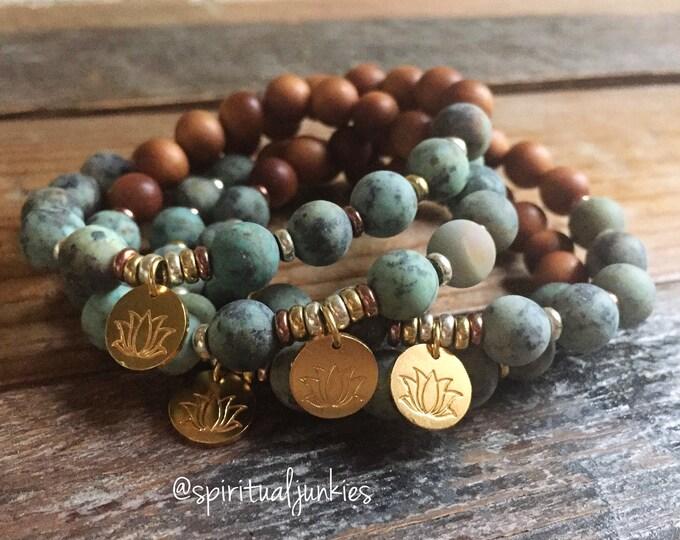 Stackable Sandalwood, Matte African Turquoise + Hill Tribe Gold Vermeil Lotus Yoga and Meditation Bracelet (single bracelet)