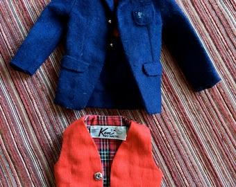 Ken Doll Clothes,Ken Doll Wardrobe,Ken 60s,Ken Jacket,Ken Coat,Sportsjacket,Ken Vest,Ken Dressy,Ken Formal Wear,Ken Red Vest,Ken Outfit