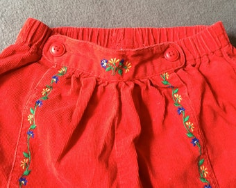 Baby Gap Pants,Retro Baby Pants,Embroidered Baby Pants,Corduroy Baby Pants,Red Baby Pants,European Baby Pants,Flower Baby Pants,Cozy Pants