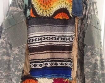 Vintage upcycled army camo jacket