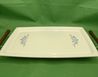 "Vtg Corning Ware Broil & Bake Tray with Metal Stand Teak Handles in ""Cornflower Blue"" P-35-B"