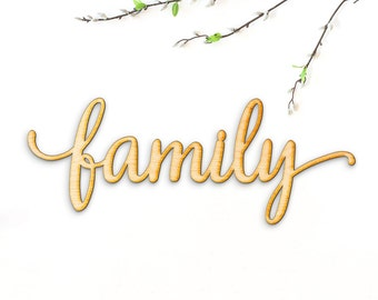 Family Script Word Wood Sign-Wood Sign Art, Gallery Wall, Family Wood Sign, Laser Cut Wood Sign, Cursive Wood, Rustic Family Wall Sign