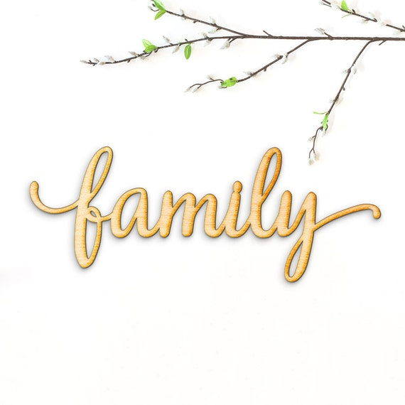 Family Script Word Wood Sign Wood Sign Art Gallery Wall