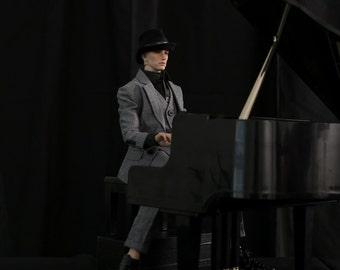 Herringbone Gray Suit for Dollshe 28M Fashion