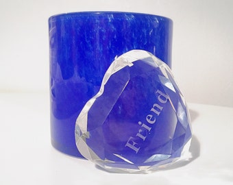 SALE! Vintage Multi-Faceted Clear Crystal Glass Heart Paperweight with 'Friend' Etched In It