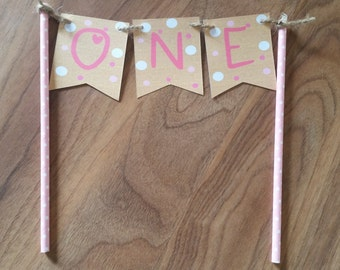 1st Birthday Hessian Look Pink Polka Dot ONE Cake Bunting