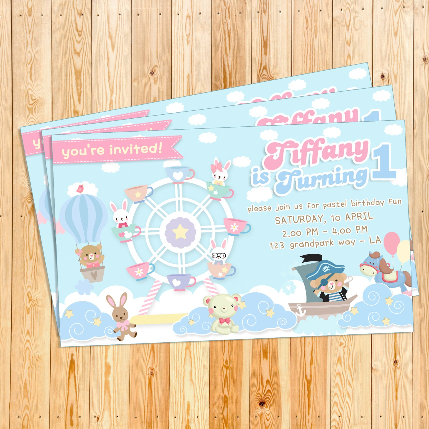 Editable instant download diy birthday party invitation template editable instant download diy birthday party invitation template cute cartoon animal in soft blue bear filmwisefo