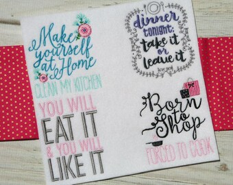 In My Kitchen Sentiments Four - 12 Different Machine Embroidery Designs 4x4 5x7