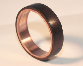 Wooden Rings - Bentwood Copper and Ebony Rings - Mens Wood Rings, Womens Wood Rings, Wood Engagement Rings, Wood Wedding Bands