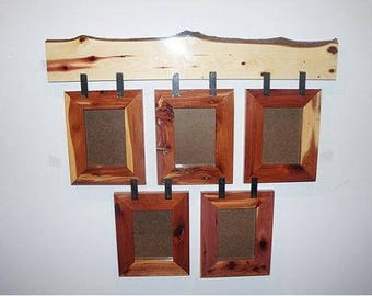 five frame collage cedar collage rustic collage hanging collage live edge picture frame rustic picture frame made to order