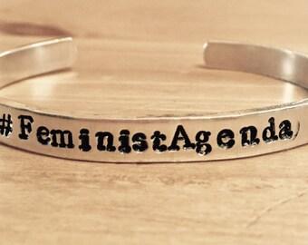 Feminist Agenda Personalized Customized Hand Stamped Bracelet Cuff