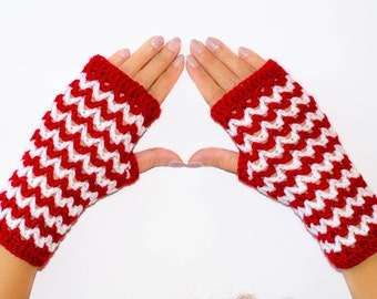 Crochet fingerless gloves, fingerless mittens, womens gloves, red and white gloves, winter gloves, fingerless mitts, hand warmers