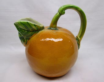 Vintage Orange with Green Leaves Water Pitcher - Made in ITALY for Lord & Taylor - Decorative Ceramic Fruit Citrus Orange Juice Pitcher