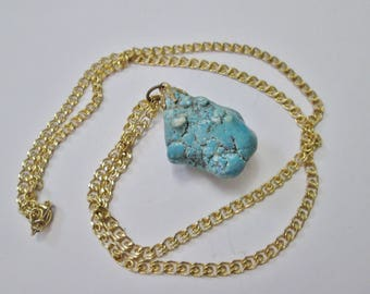 Vintage Blue Turquoise Stone Pendant Necklace on Gold Metal Chain
