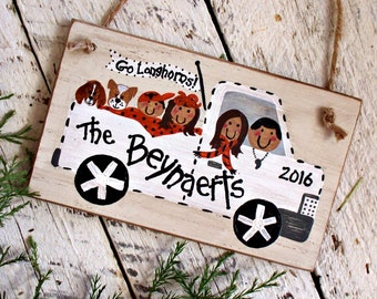 Custom Family Ornament, Personalized Christmas Ornament, Pickup Truck, Sports, Coaches Gift, Rustic Keepsake Ornament, Hand Painted Wood