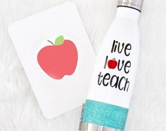 Live Love Teach - Teacher // Glitter Stainless Steel Water Bottle - Metal Water Bottle - Thermal Water Bottle