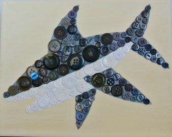 Button Art for Kids – Great White Shark