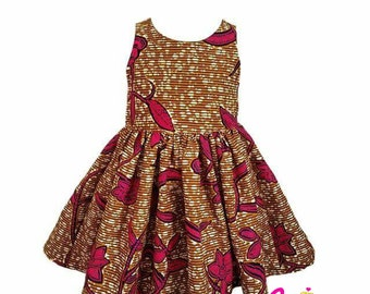 Pink Flowers African Print Dress 12M