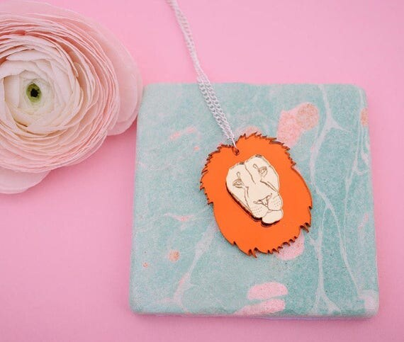 Lion Acrylic Necklace or Brooch