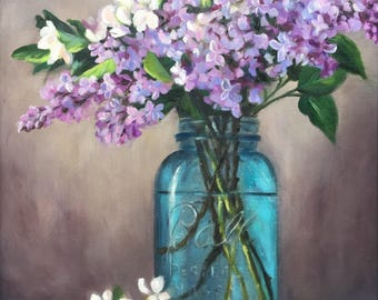 """16 x 20 inch. Acrylic on wood panel. Lilac painting. Title ~ """"Spring gifts"""""""