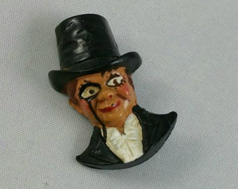 Vintage Charlie McCarthy Celluloid Brooch, 1930's Ventriloquist Dummy Pin, 1930's Jewelry