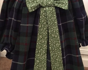 Baby Christmas Dress with long bow tie, 12-24 months, Green corduroy with green/white country print bow