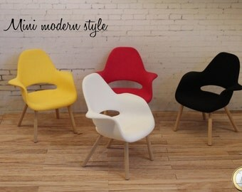 Modern plastic chair with wooden legs in 1:12 scale for dollshouse