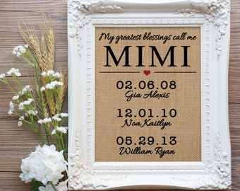 Mimi Valentines Day Gift, Mimi Gift, Gift for Mimi, Mom Gift, Gift Mom, Mimi birthday Gift, Grandchildren Gift, Greatest Blessings Sign