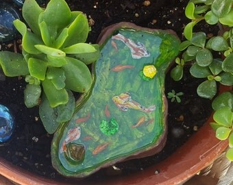 Miniature pond- fairy garden