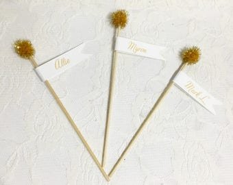 Wedding Place Cards- Champage Stick Place Cards- Champage wedding stick place card