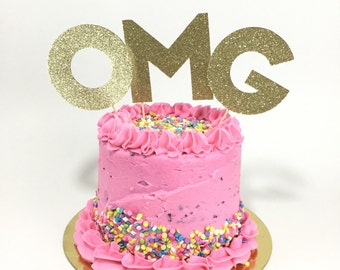 Omg  glitter cake topper - celebrate party decor - bridal shower - engagement party - birthday cake topper