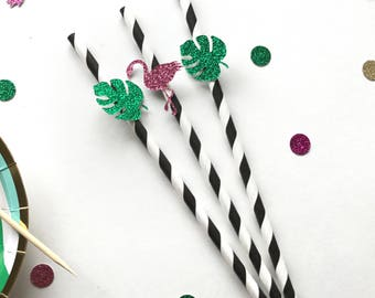 Tropical Paper Straws- Flamingo Party Decor - Luau Birthday Party - Bridal Shower - Summer Tropical Party