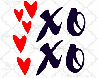 XoXo SVG, Hugs and kisses valentines day SVG Eps Png Dxf,  Valentine Cricut DS Silhouette Studio, Digital Cut Files Instant Download