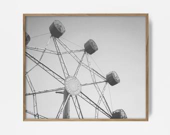 bw ferris wheel, carnival print, ferris wheel print, printable wall art, printable california art, bw print, printable bw wall art, wall art