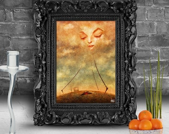 Heart in the clouds chained to the ground. Surreal fine art print   FRAMED