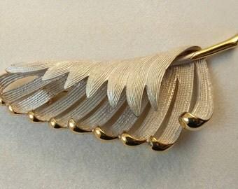 Vintage White Enamel Gold Leaf Brooch Pin