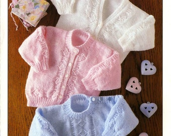 Knit Pattern Baby Sweaters and Cardigans preemie included instant download knitting pattern