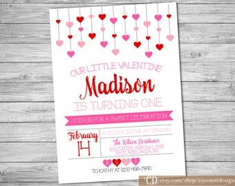Valentine's Birthday Invitation / Valentine's Birthday Invitation / Girls Birthday / Hearts Pink Red / Digital File
