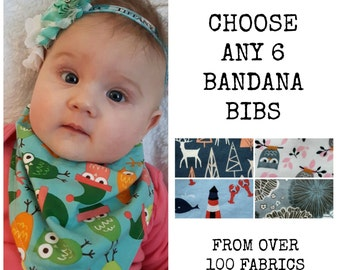 Bandana Bib Bundle - Choose Any 6 - Boy or Girl Bibdanas - Teething or drool bibs - Baby Bib set - Bulk Baby Bibdanas