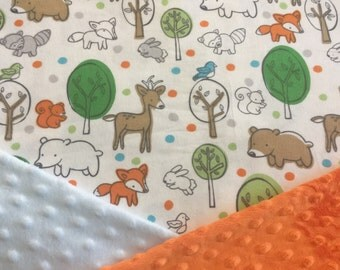 Personalized Minky Baby Blanket Orange and Green Woodland Forest Animals (Foxes Bears Squirrels Owls and Racoons) Minky Baby Blanket