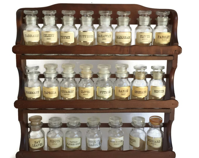 John Wagner Spice Jars with Rack and Original Labels, Vintage Apothecary Jars, Wooden Spice Rack, Vintage Spice Jars, Hanging Spice Rack