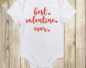 First Valentines Day Outfit - Valentines Day Outfit - Best Valentine Ever Onesie - Valentine's Day Onesie - Baby Boy-Baby Girl-Infant Onesie